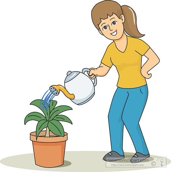 Girl Planting Flowers Clipart.
