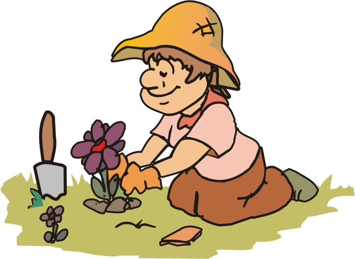 Planting Flowers Cartoon.