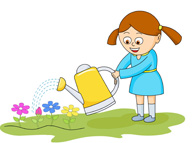 Kids Planting Flowers Clipart.