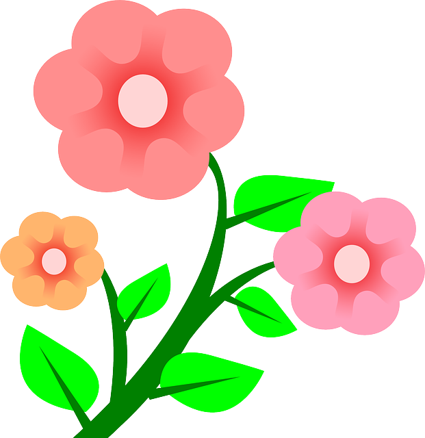 Three Plants Flower Flowers Cartoon Border Pink.