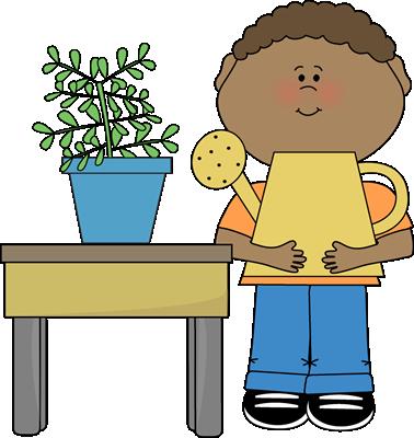 Boy Classroom Plant Helper Clip Art.