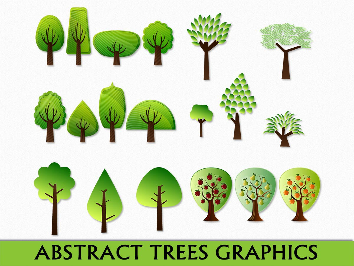 Abstract Tree Clip Art Graphic Fruit Trees Plant Nature Clipart.