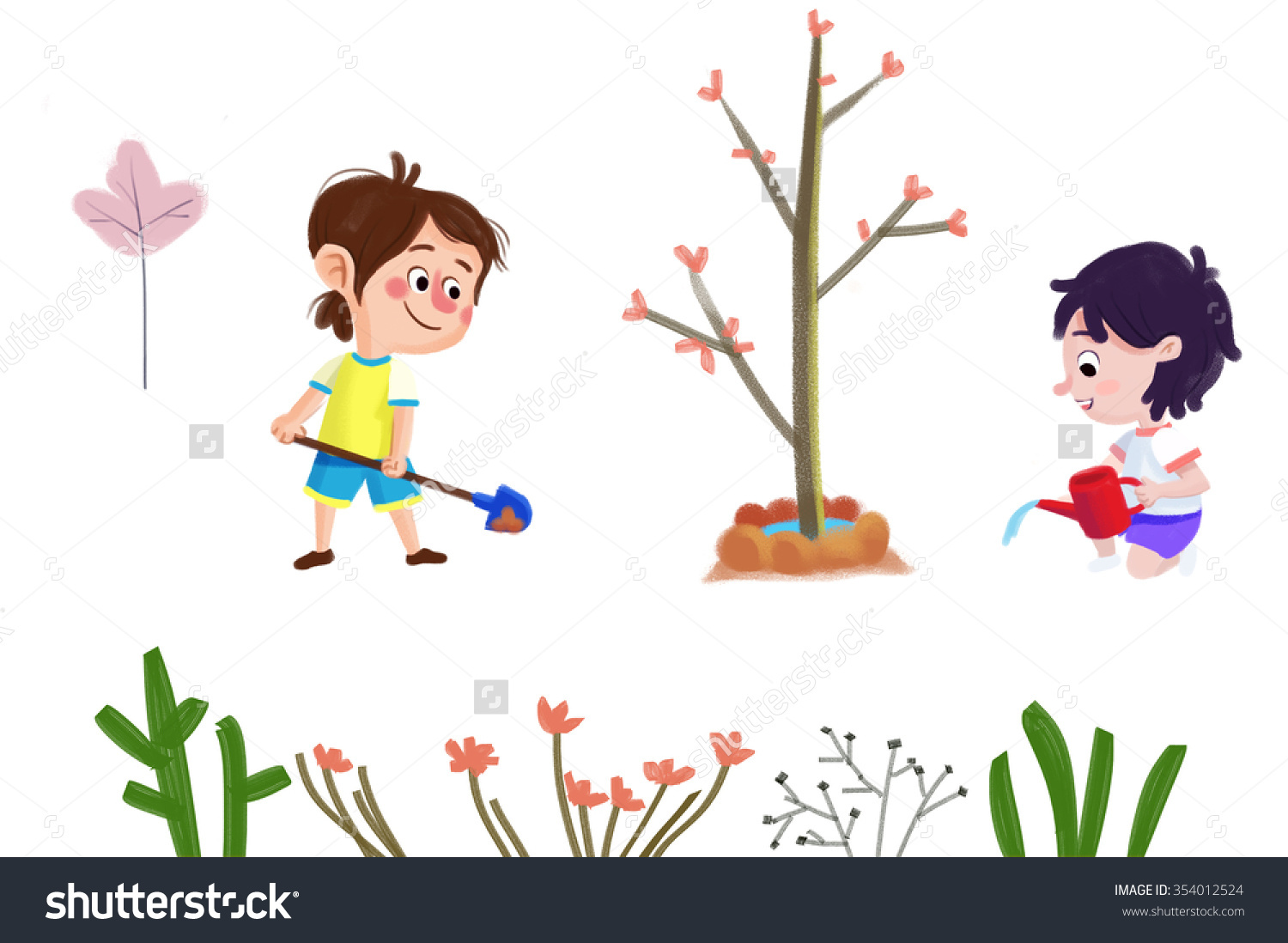 Clip Art Set Nature Objects Boy Stock Illustration 354012524.