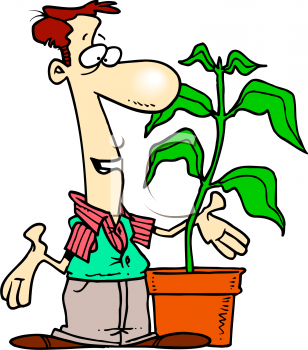 Royalty Free Clipart Image: Cartoon of a Florist Talking to One Of.