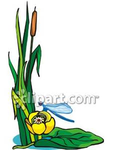 Blue Dragonfly By a Pond Plant Royalty Free Clipart Picture.