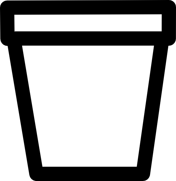 Flower Pot Outline Clipart.