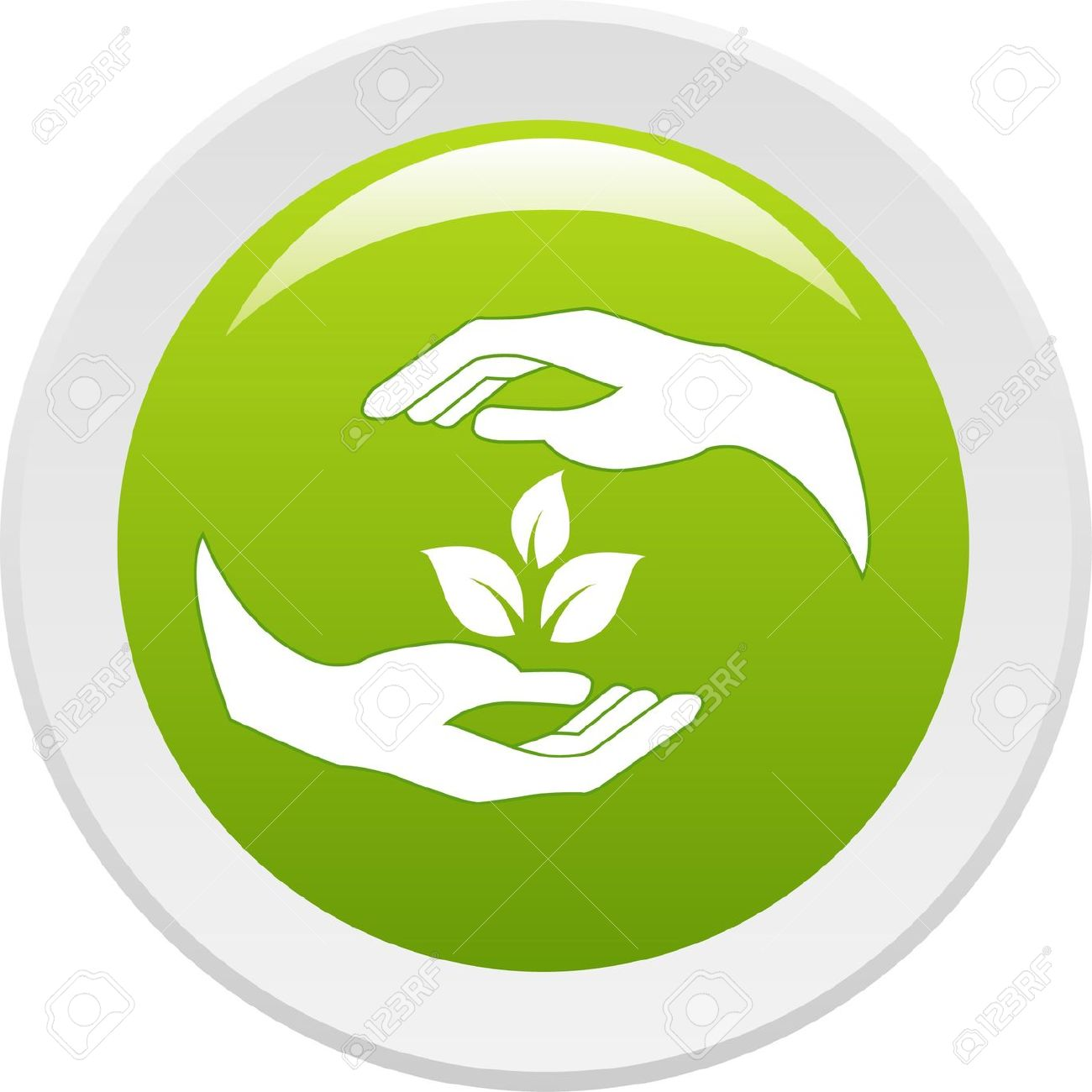 Human Hands Caring Of A Plant. Vector Icon Royalty Free Cliparts.