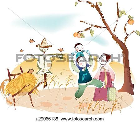 Stock Illustration of rice plant, persimmon trees, back rack.
