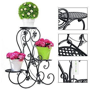 3 Tiered Scroll Decorative Black Metal Garden Patio Stands Plant.