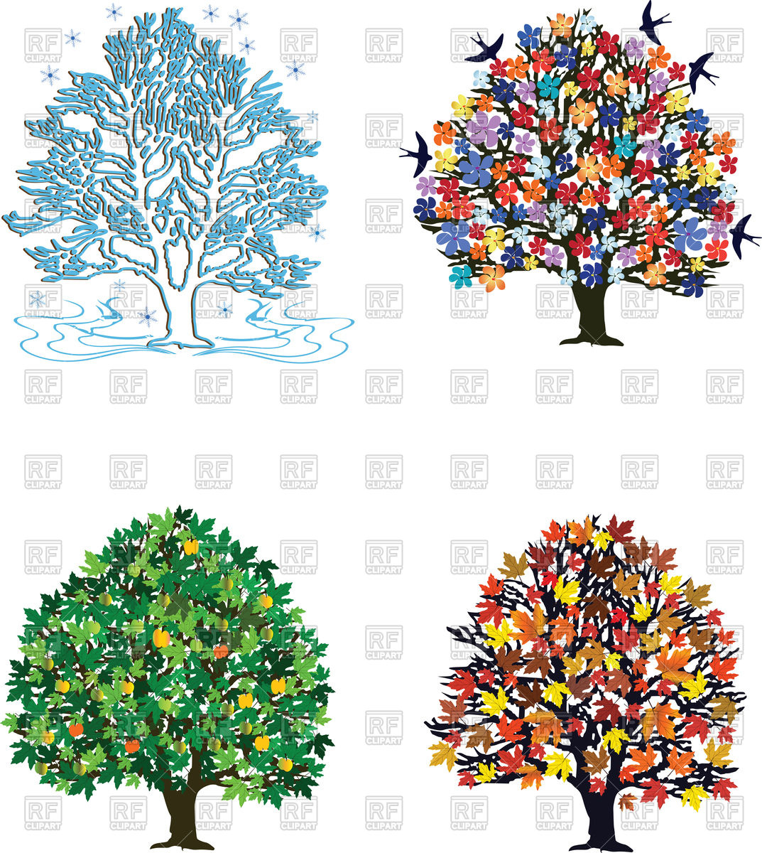 Plants for spring and summer - Four Seasons Trees In Spring Summer Autumn Winter Click To Zoom
