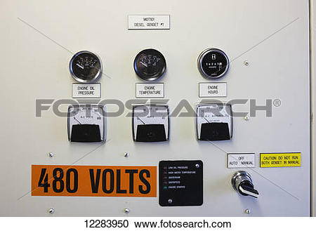 Stock Photography of Buttons and switches on a diesel generator.