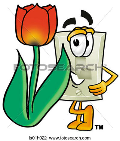 Clipart of Light switch with tulip ls01h022.