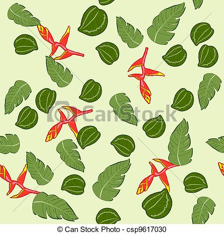 Vector Clipart of seamless texture of the Malaysian plant. vrctor.