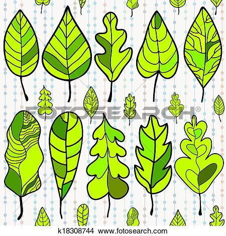 Clipart of Seamless stylized leaf pattern on colored background.