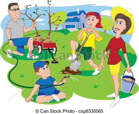 Clipart Vector of Arbor Day Family.