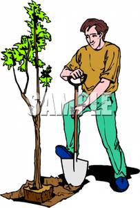 Person planting a tree clipart.