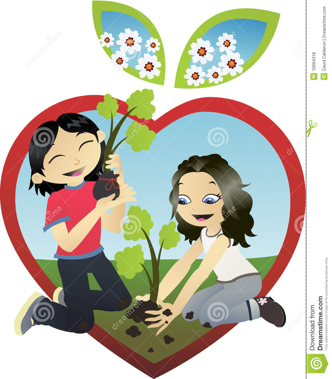 Dad Son Plant Tree Clipart.