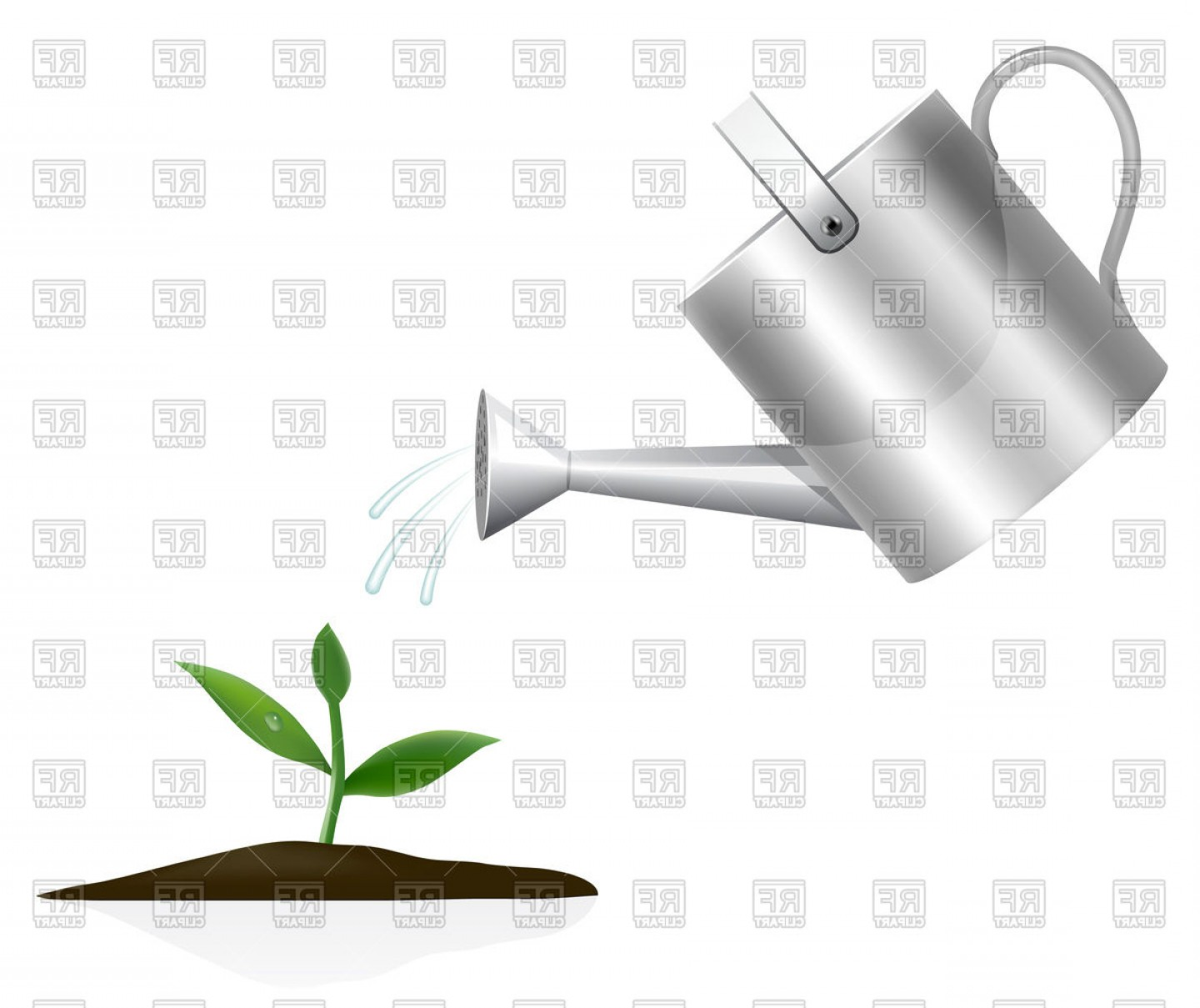 Young Plant With Watering Can Vector Clipart.