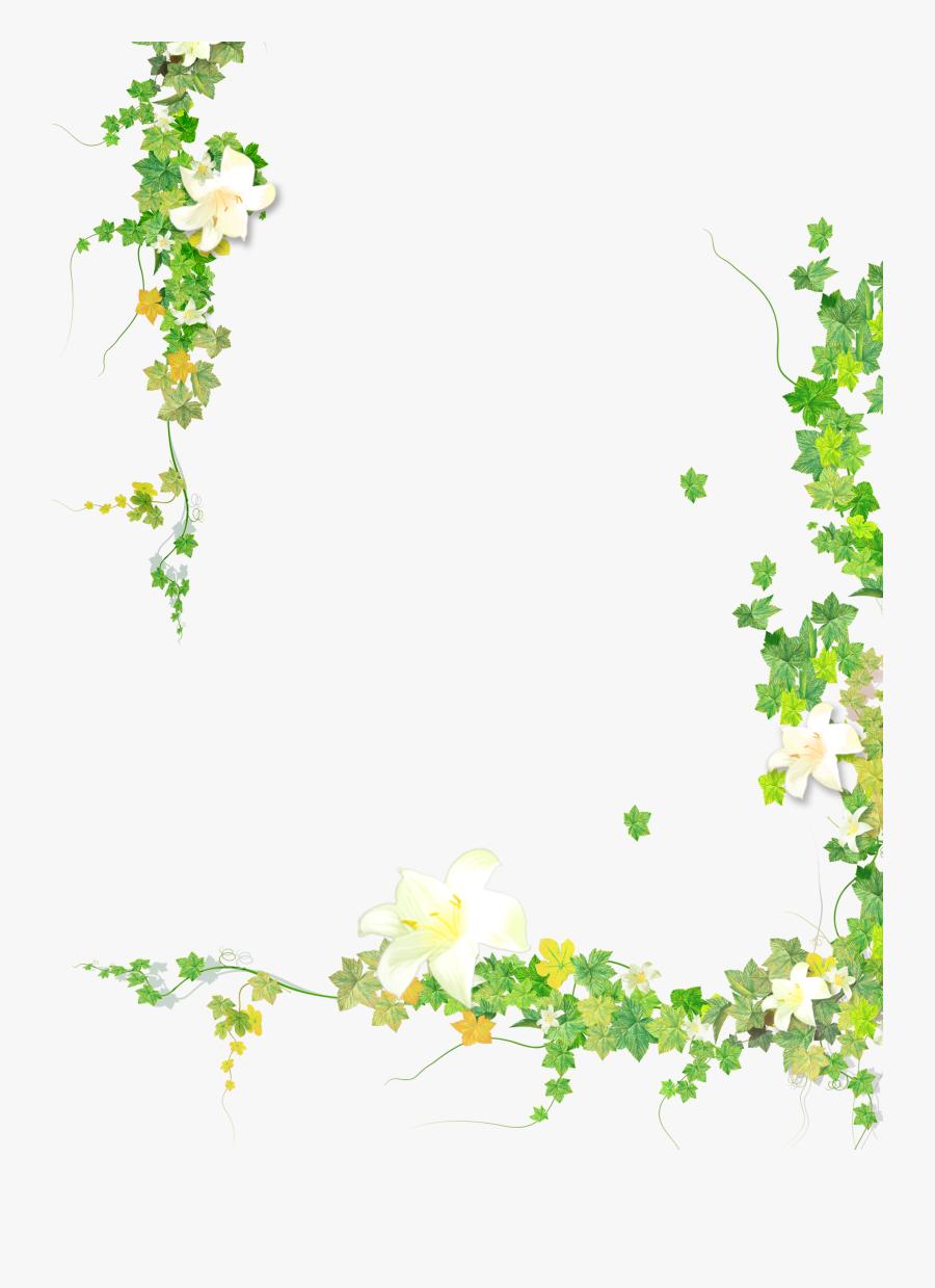 Summer Plant Flower Leaf Painted Vine Hand Clipart.