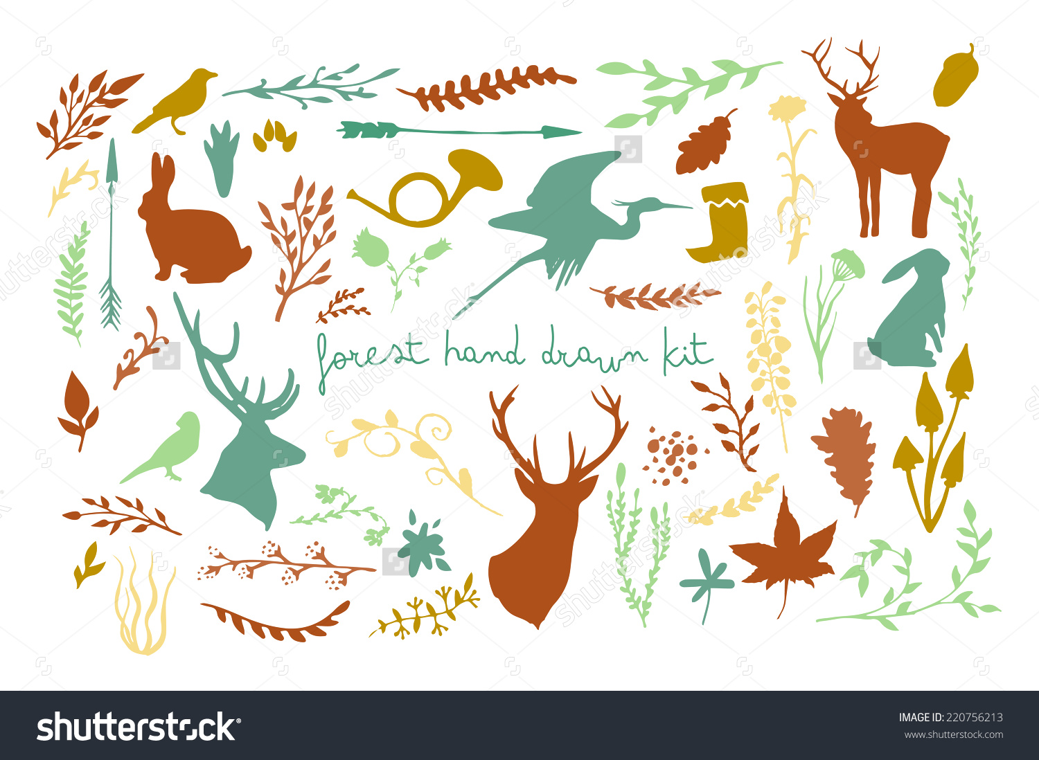 Forest Animals Plants Silhouette Set Hand Stock Vector 220756213.