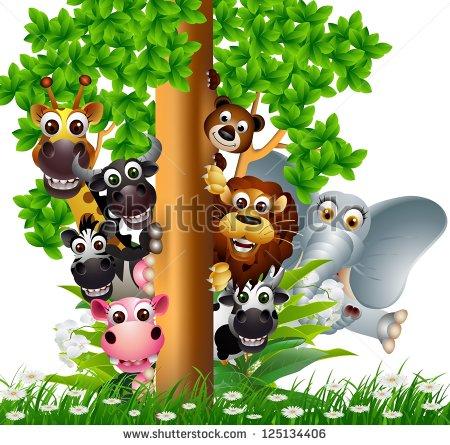 Cute Animal Cartoon Wildlife Collection On Stock Vector 125134406.