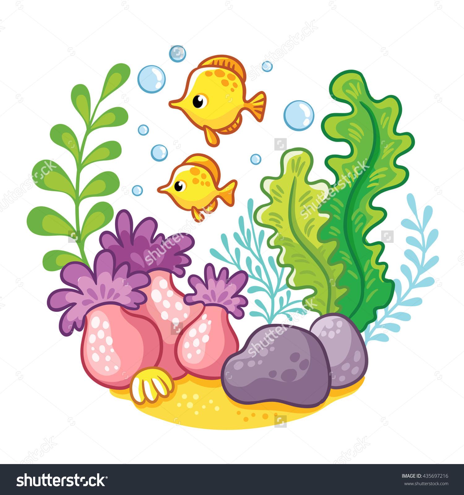 Underwater Life Vector Illustration Sea Fish Stock Vector.