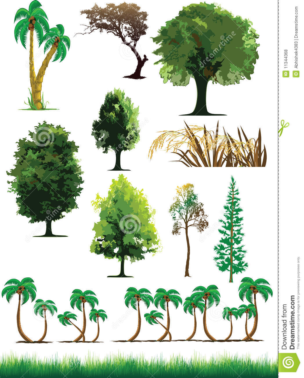 Silhouette View Of Trees, Plants, Grass, Wildlife Royalty Free.