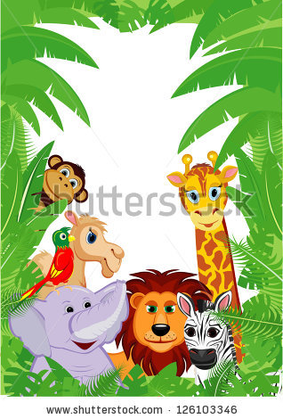 Jungle Animals Frame Copy Space Stock Vector 126103346.