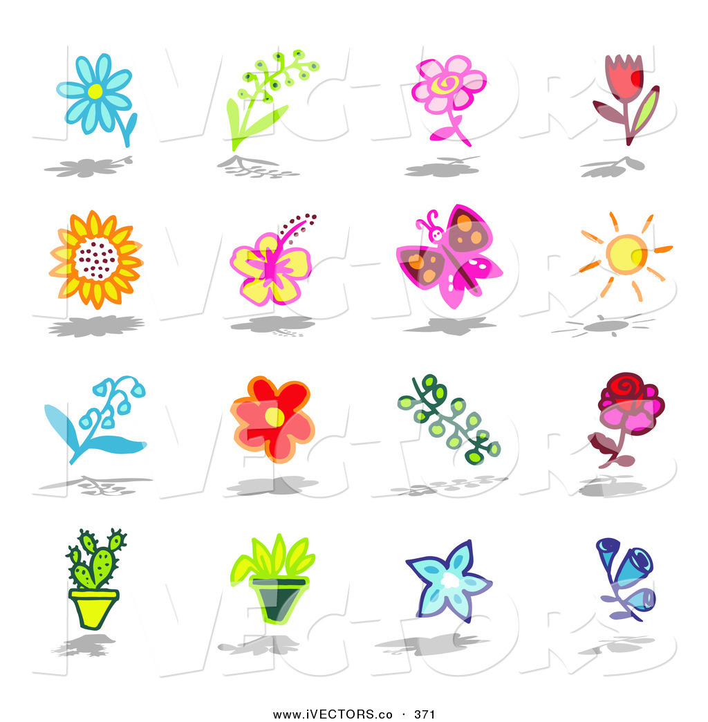 Vector Graphic of a Set of Flowers, Butterfly, Sun, Cactus and.