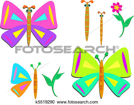 Clipart of Mix of Butterfly and Plant Parts k5519290.