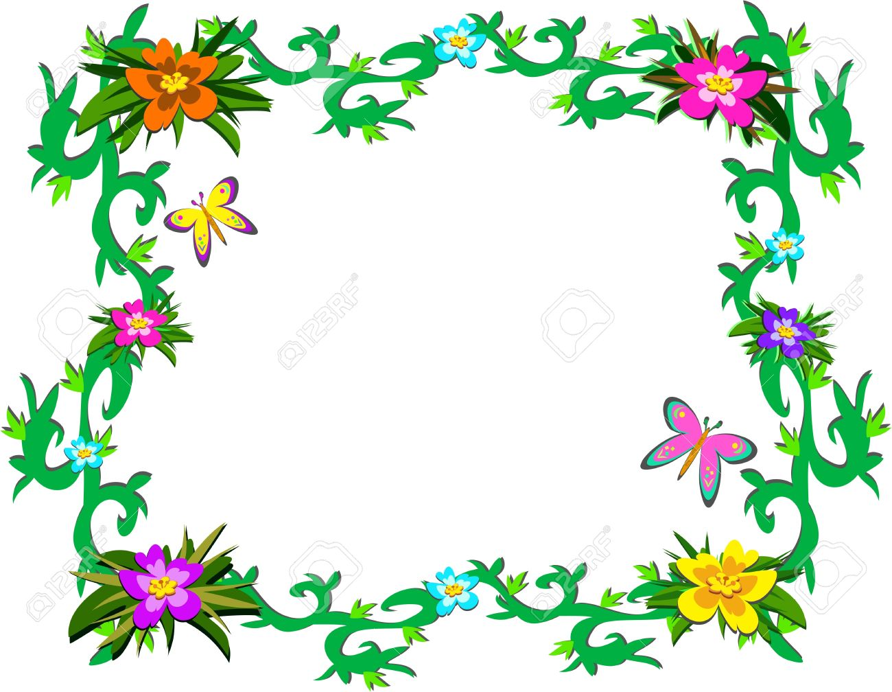 Frame Of Lush Tropical Plants And Butterflies Royalty Free.