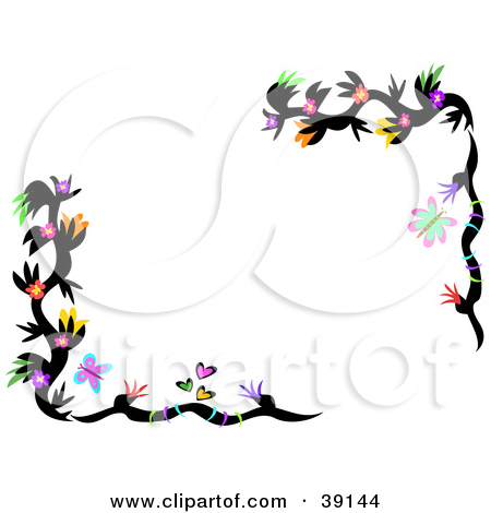 Clipart Illustration of a Border Of Colorful Flowering Black Plant.