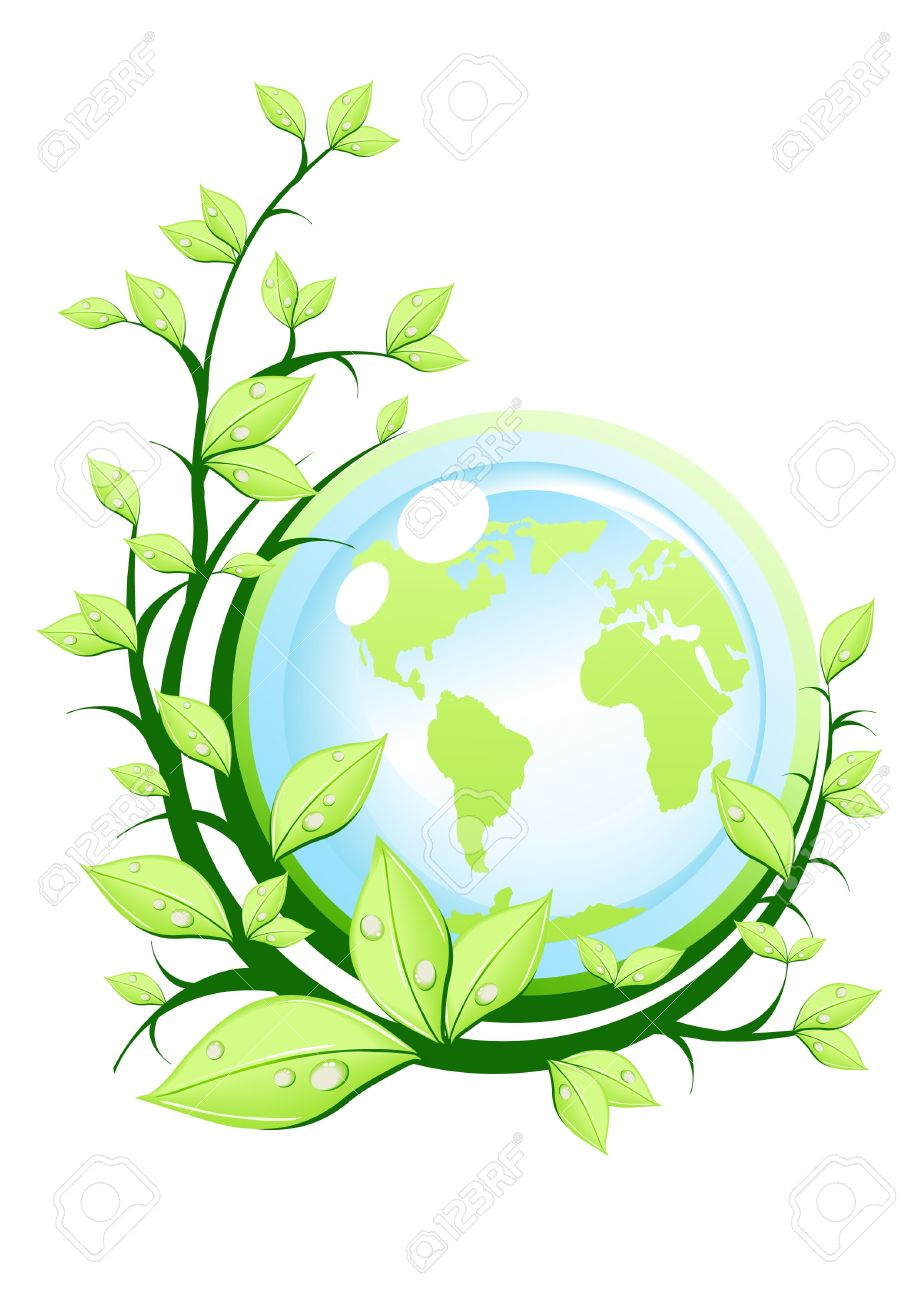 Vector Illustration Of Green Earth With Plant Royalty Free.