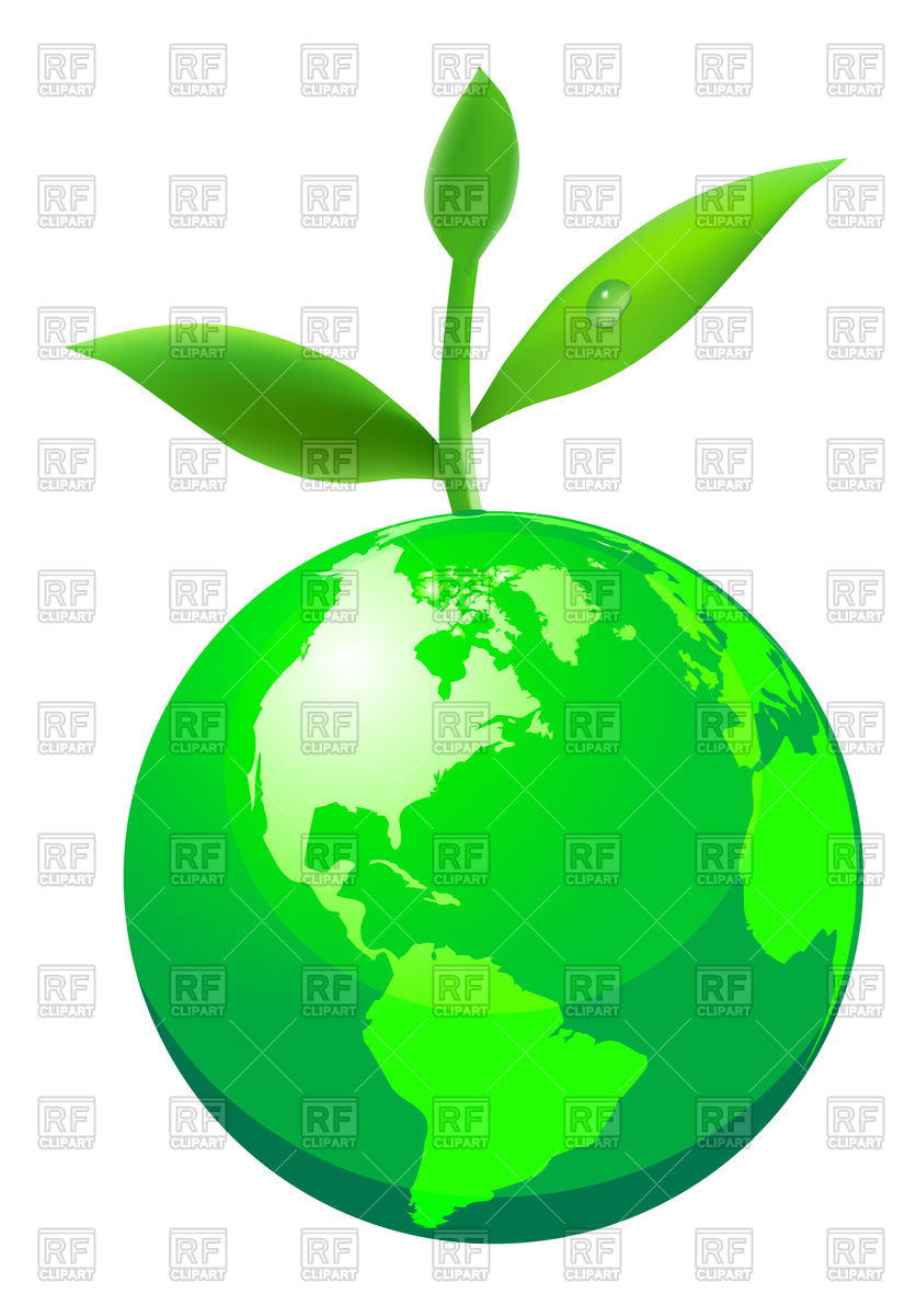 Green globe with plant Vector Image #75388.
