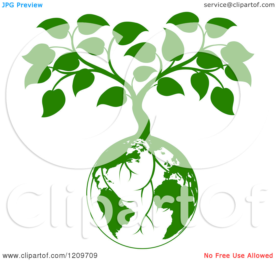 Clipart of a Green Planet Earth Globe and Tree with Roots Growing.
