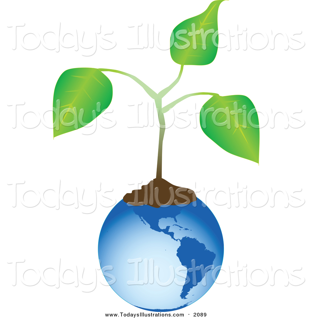 Clipart of a Blue Globe with Soil and an Organic Plant by tdoes.