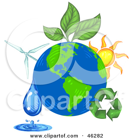 Clipart Illustration Graphic of a Green Plant Leaves Being Circled.