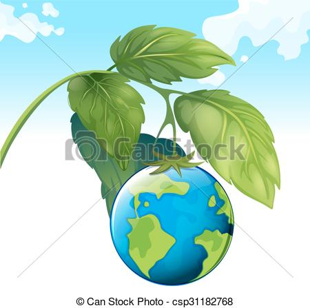 Clip Art Vector of Save the world theme with earth and plant.
