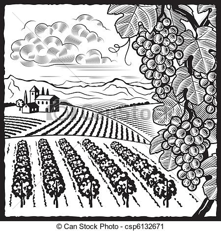 Vector Clip Art of Vineyard landscape black and white.