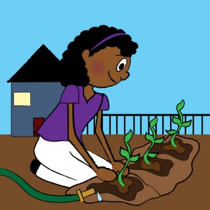 Clip art Illustration of an African American Woman Planting.
