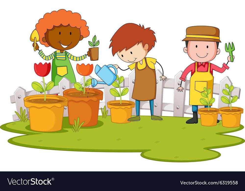 Gardeners planting tree and flower in garden Vector Image.