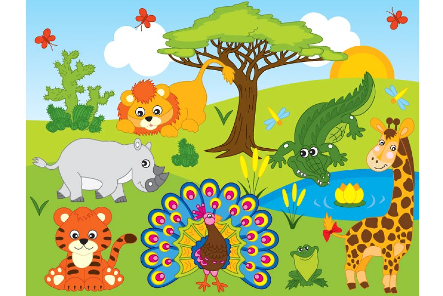 Vector Safari Animals Set.