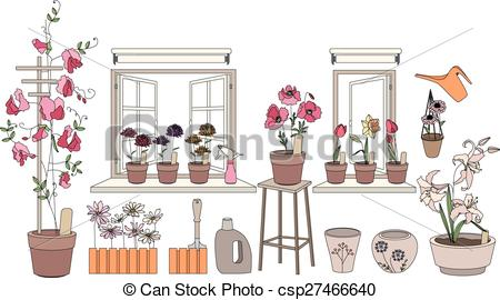 EPS Vector of Flower pots with herbs and vegetables. Plants.