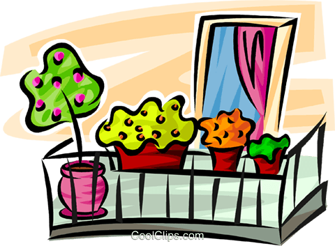 flowers in flower boxes on a balcony Royalty Free Vector Clip Art.