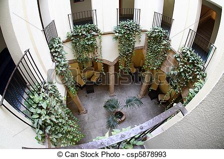 Stock Photos of Balconies with Hanging Plants.