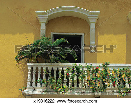Stock Photo of Fern and other plants on a balcony in Cartagena.