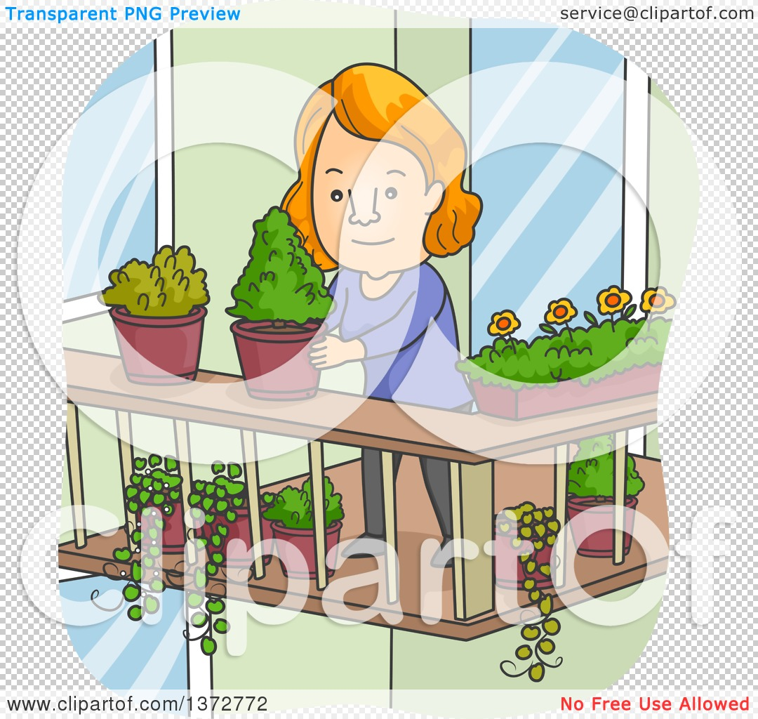 Clipart of a Cartoon Red Haired White Woman Organizing Potted.