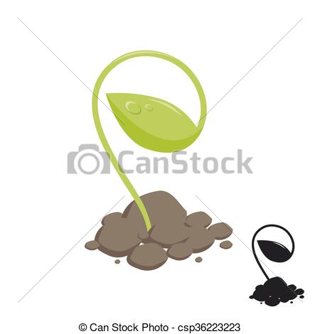 Vector Illustration of young shoot of plants growing in the soil.