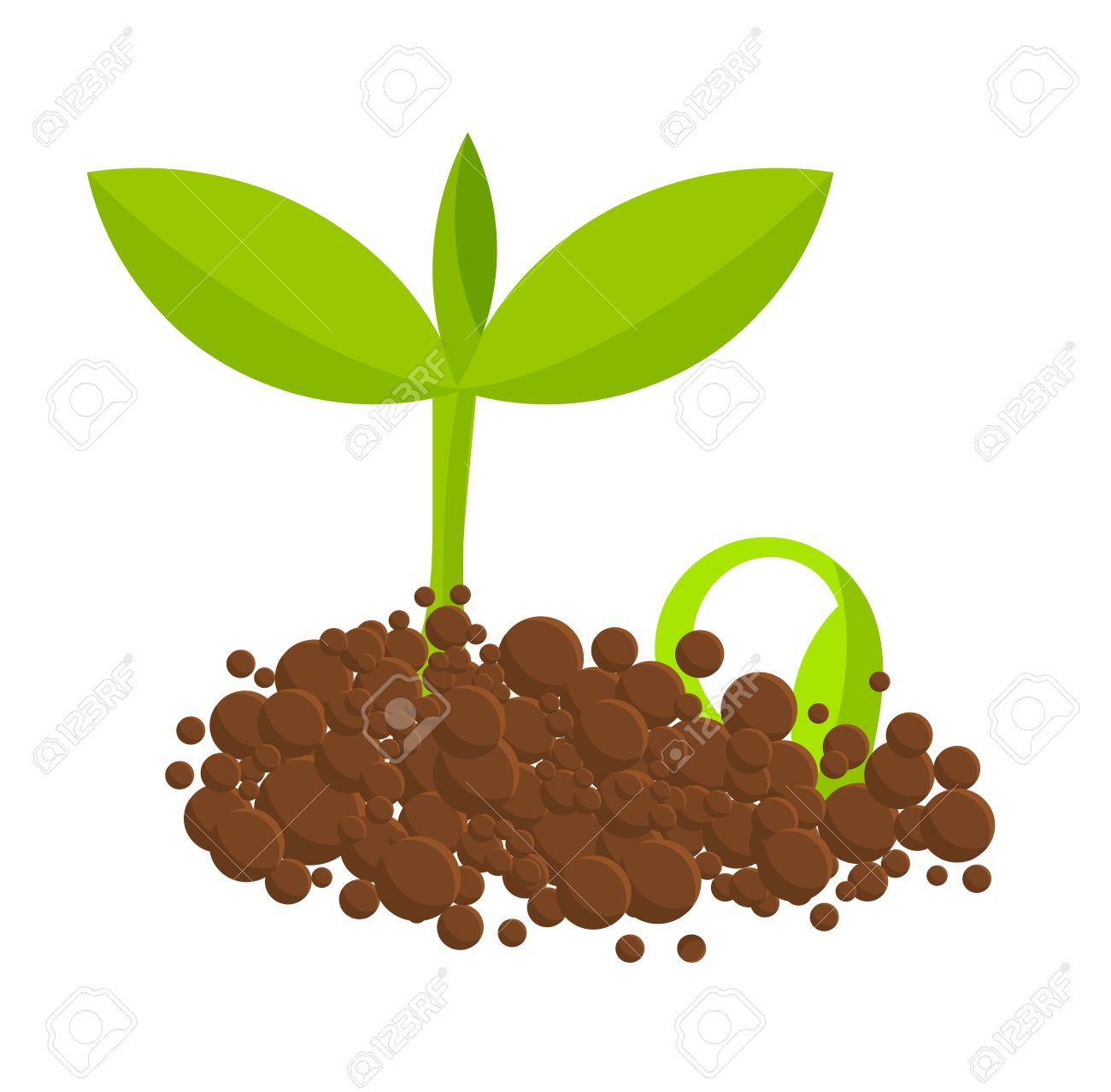 Germinating Plants From Ground. Vector Illustration Royalty Free.