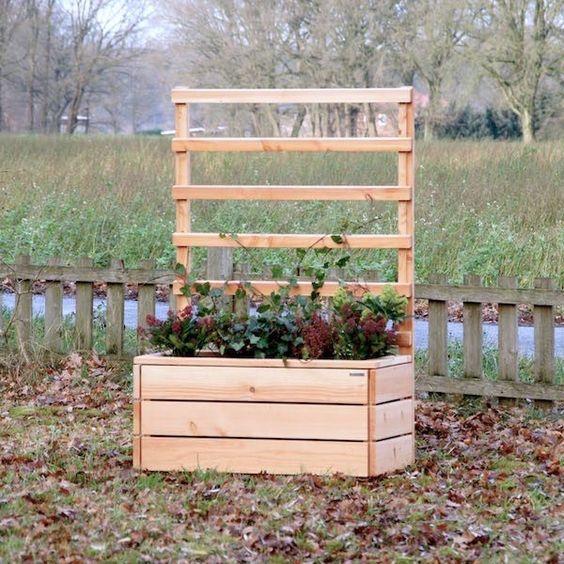 Pflanzkasten / Pflanzkübel Holz mit Rankgitter / Spalier.